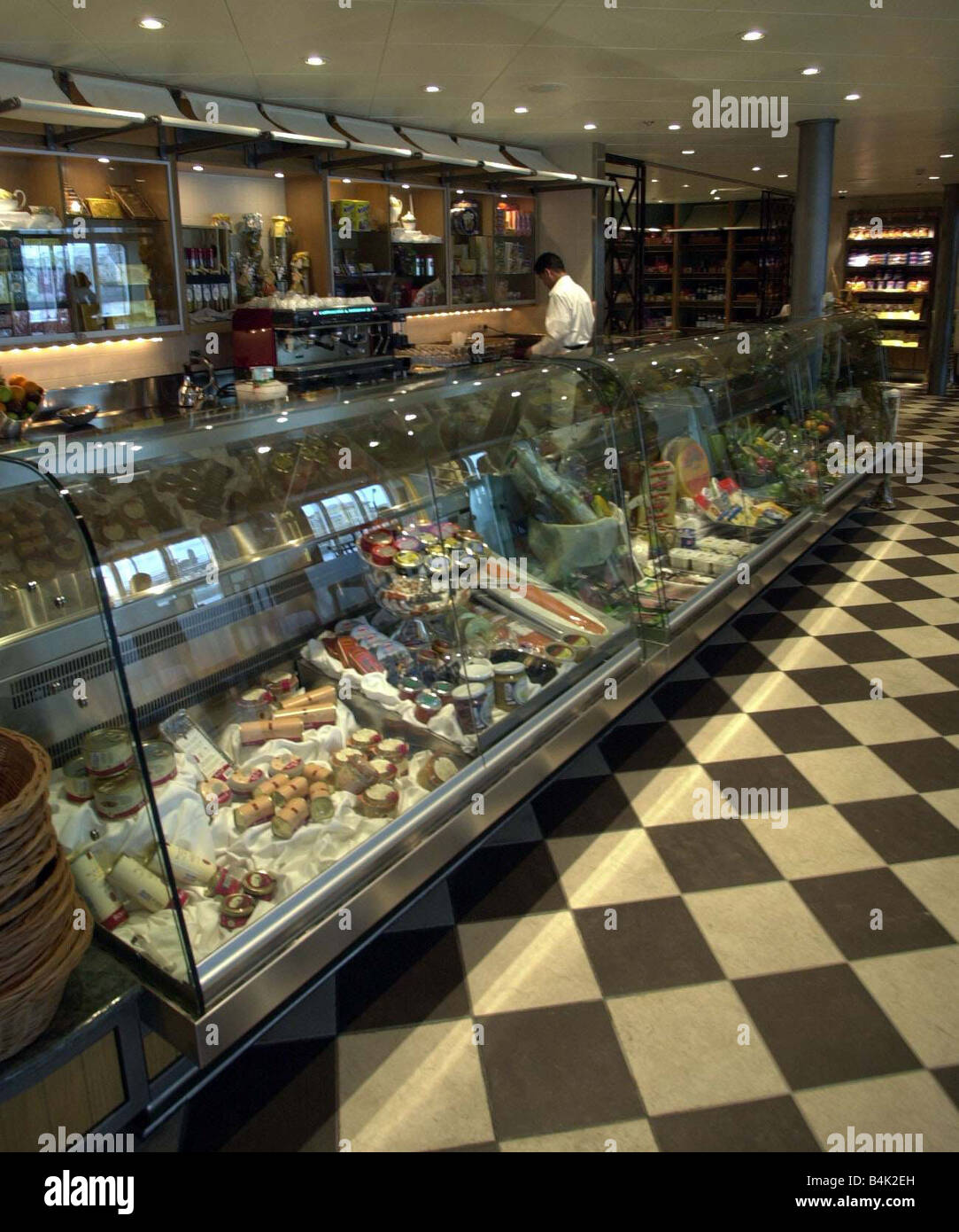 The World Luxury Cruise Liner Feature April 2002 Pictured at Greenwich South London Cruise Liners The Food Shop - Stock Image