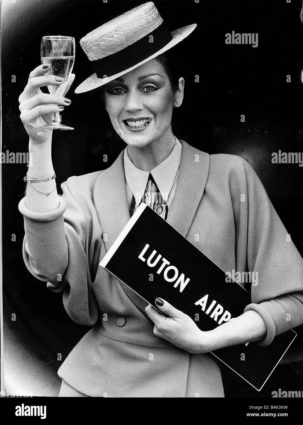 Lorraine Chase the cockney model April 1979 whose adverts for Campari made Luton airport famous returned their to - Stock Image