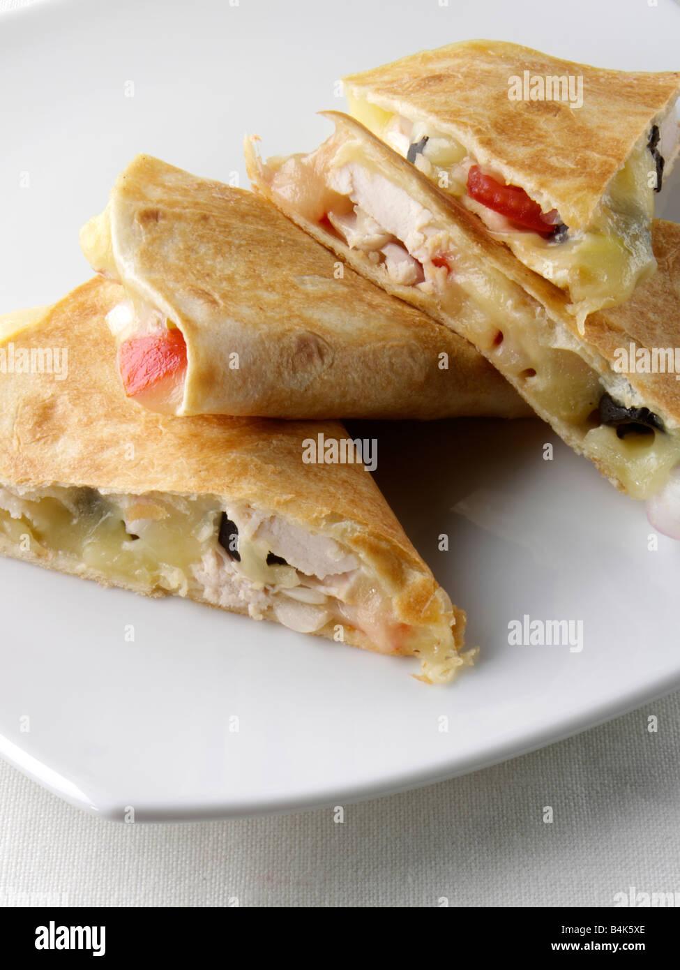 Chicken quesadillas - Stock Image