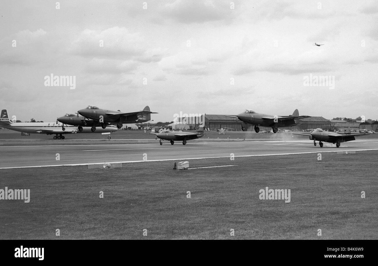 Aircraft Hawker Sea Hawks Sept 1957 of the Royal Navy s aerobatic display team take off at the SBAC Farnborough - Stock Image