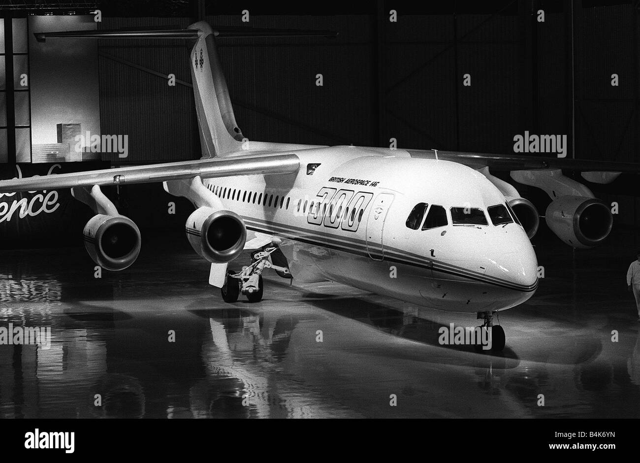 Aircraft British Aerospace BAe 146 300 May 1987 rolls out from the hangar for it s maiden flight from Hatfield in - Stock Image