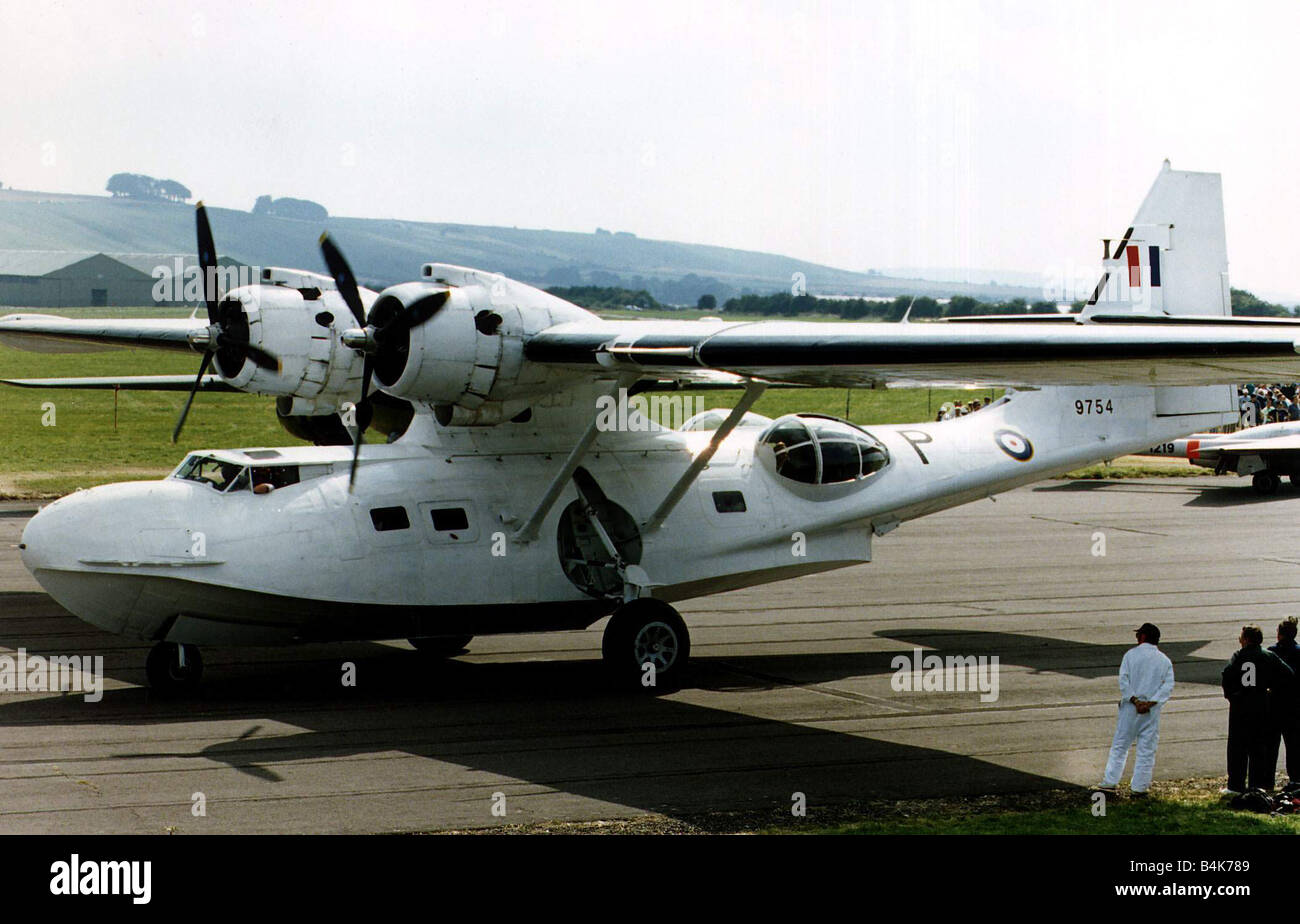 Air Aircraft Consolidated Catalina Flying Boat built during WW2 and seen here in the colours of the RAF Coastal - Stock Image