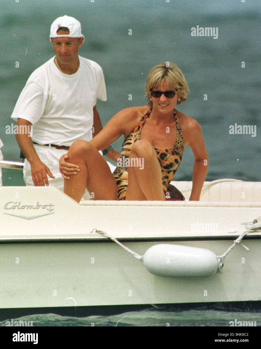 Princess Diana on holiday in St Tropez Sothern France July 1997 - Stock Image