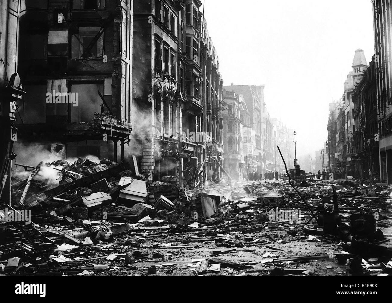 London Blitz damaged premises in Marylebone 1940 WW2 - Stock Image