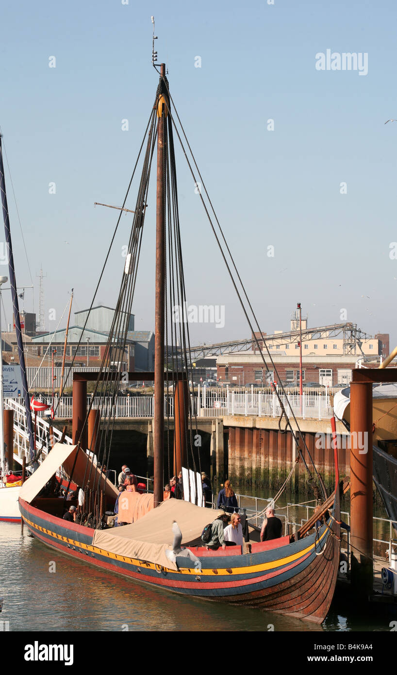 The Sea Stallion from Glendalough Havlingsten fra Glendalough replica Viking longship moored at Lowestoft Suffolk - Stock Image