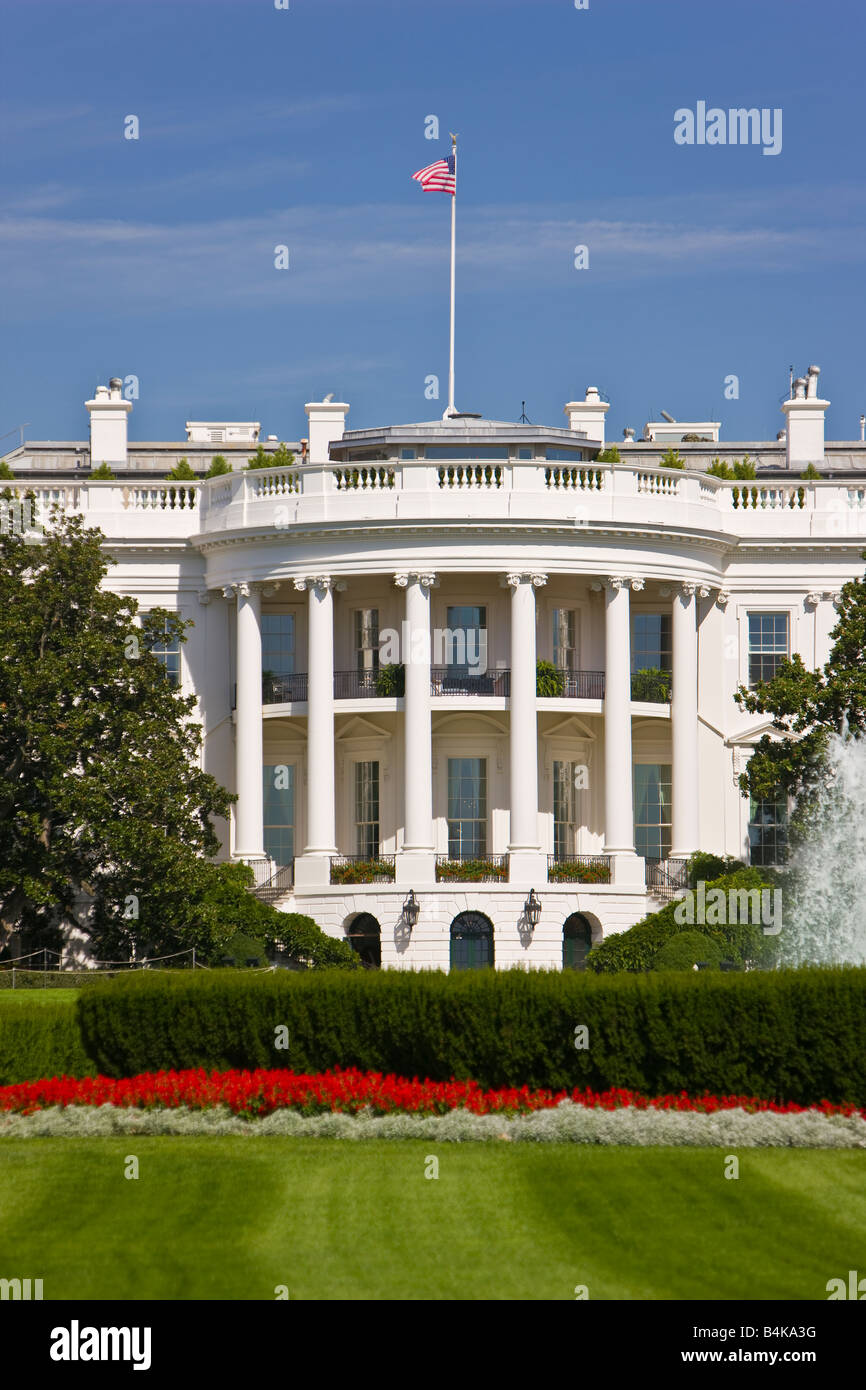 WASHINGTON DC USA - The White House, south portico and south lawn. - Stock Image