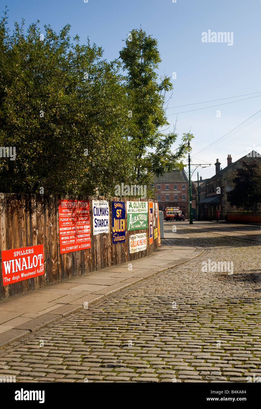 Advertising signs in the sunshine, Beamish Museum Co. Durham - Stock Image
