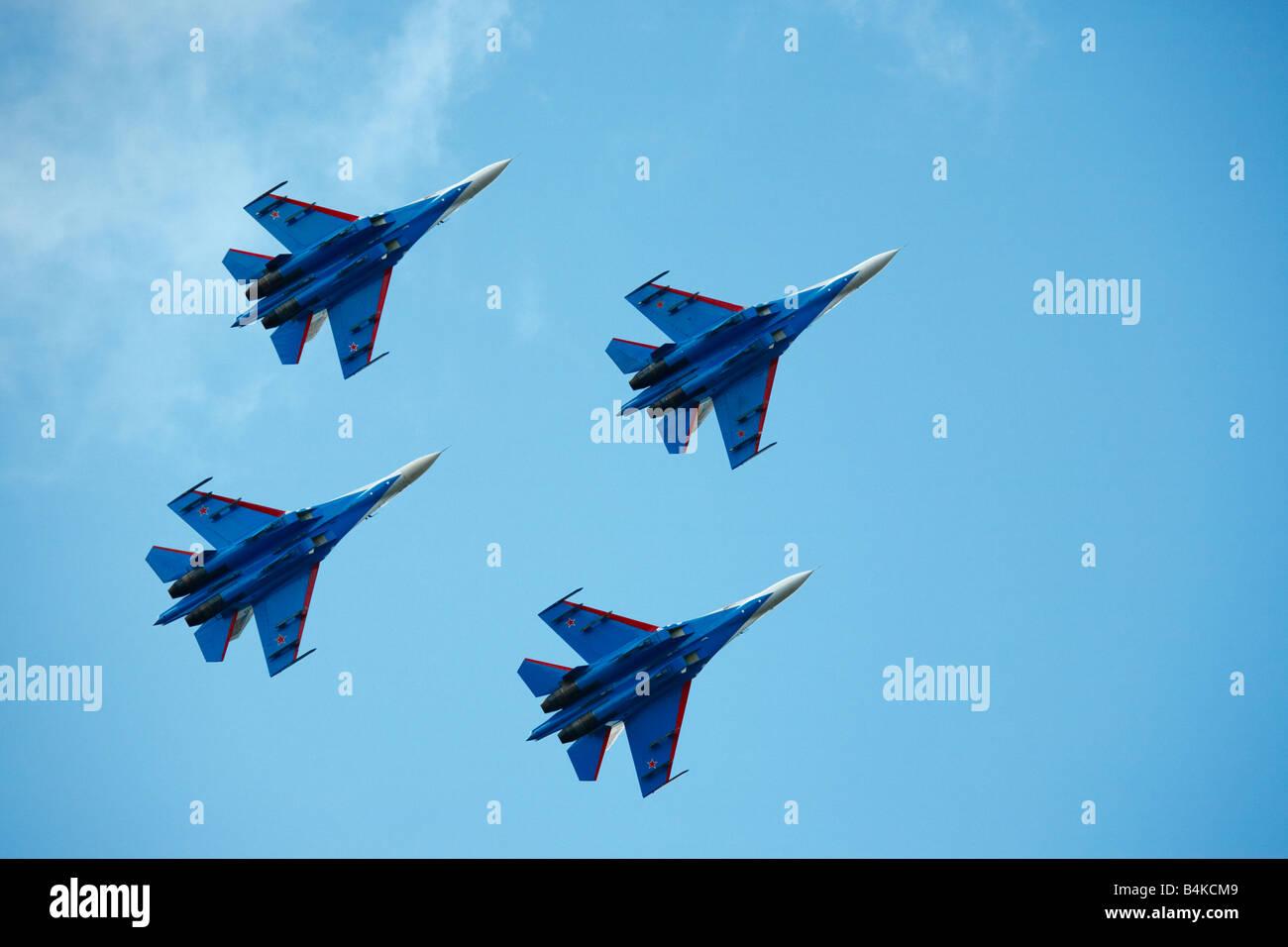 Aerobatic group Russian Knights Air show Novosibirsk - Stock Image