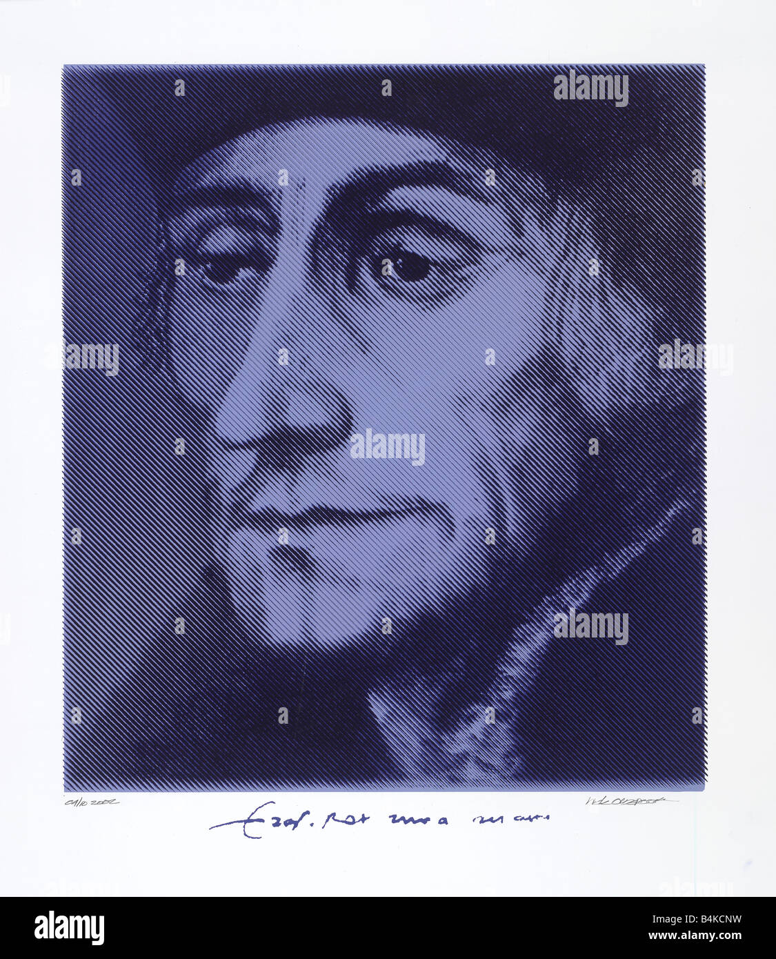 Desiderius Erasmus Dutch Renaissance humanist and 1469 -1536, silkscreen with signature made of a painting by nick - Stock Image