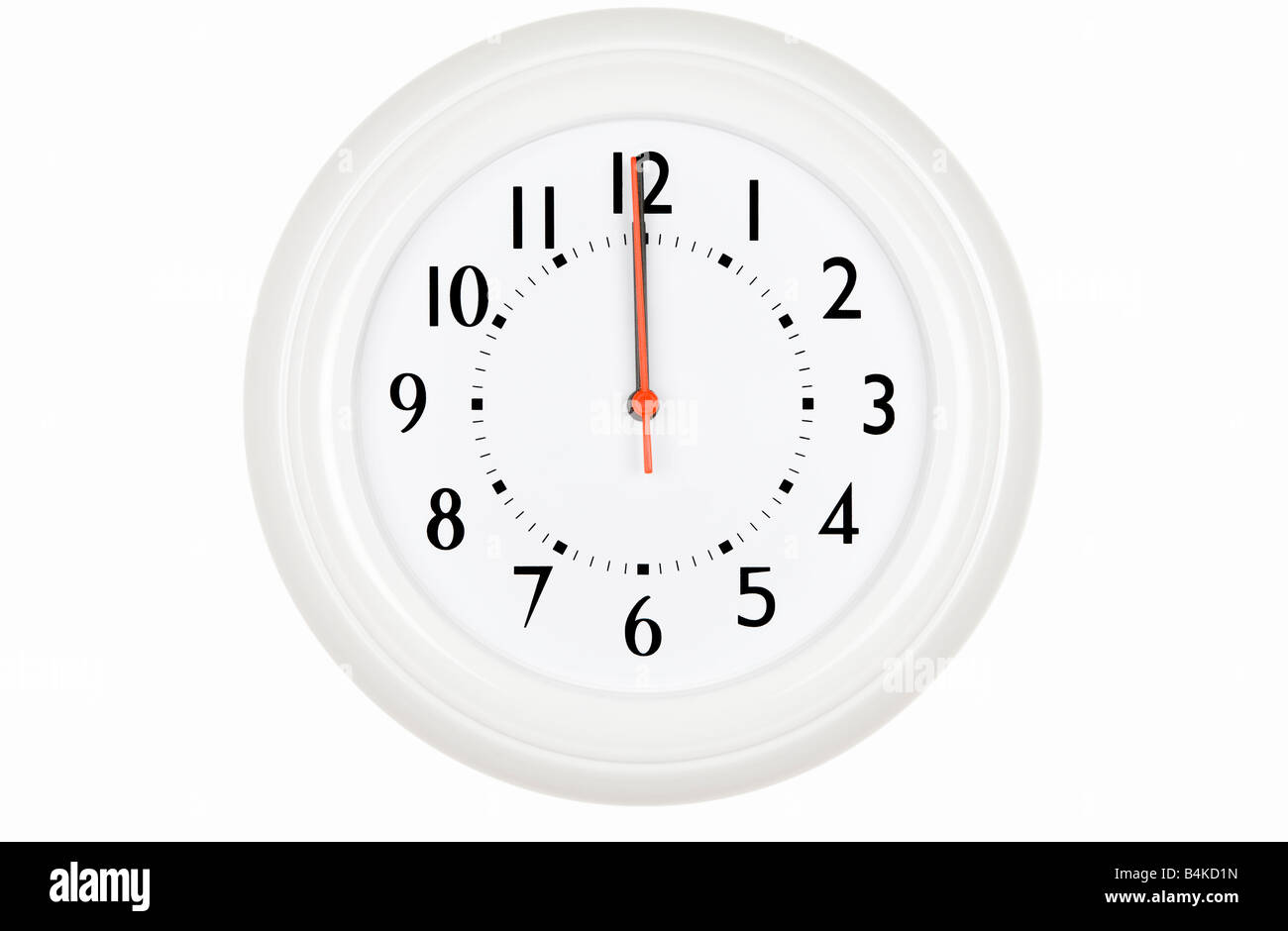 A white clock at twelve oclock - Stock Image
