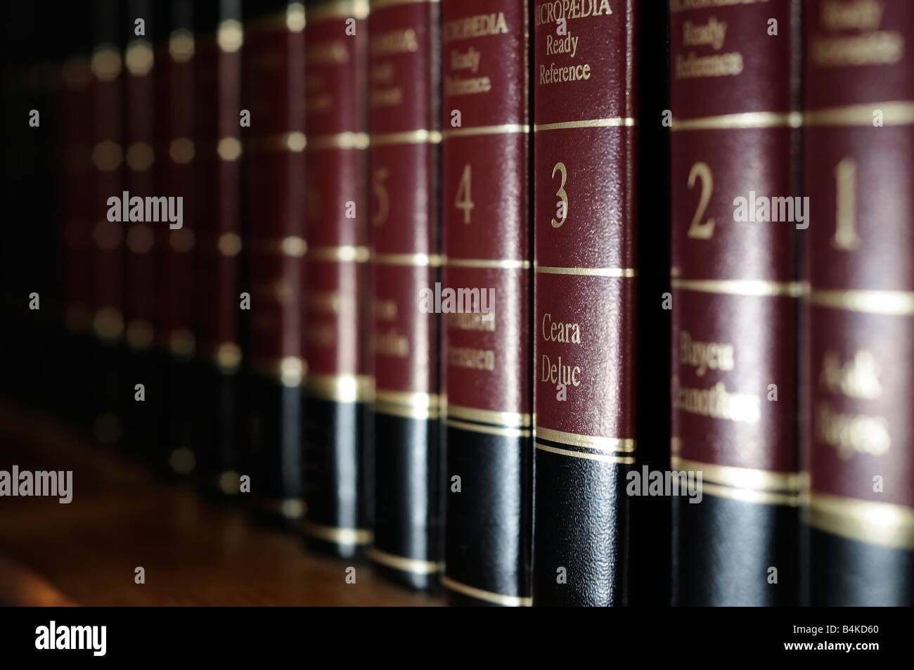 Row of refernce books on library shelf - Stock Image