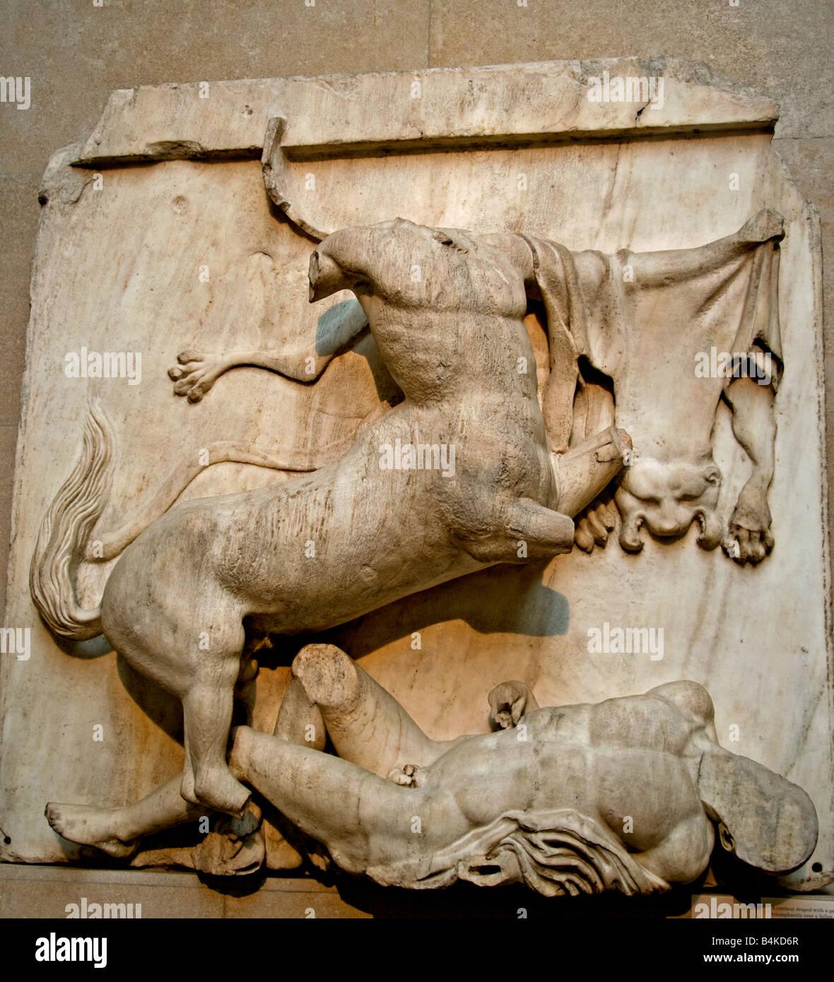 Centaur Panther skin Lapith Parthenon Pediment Metopes Frieze Greek mythology Greece Elgin Marbles Acropolis Athens Stock Photo