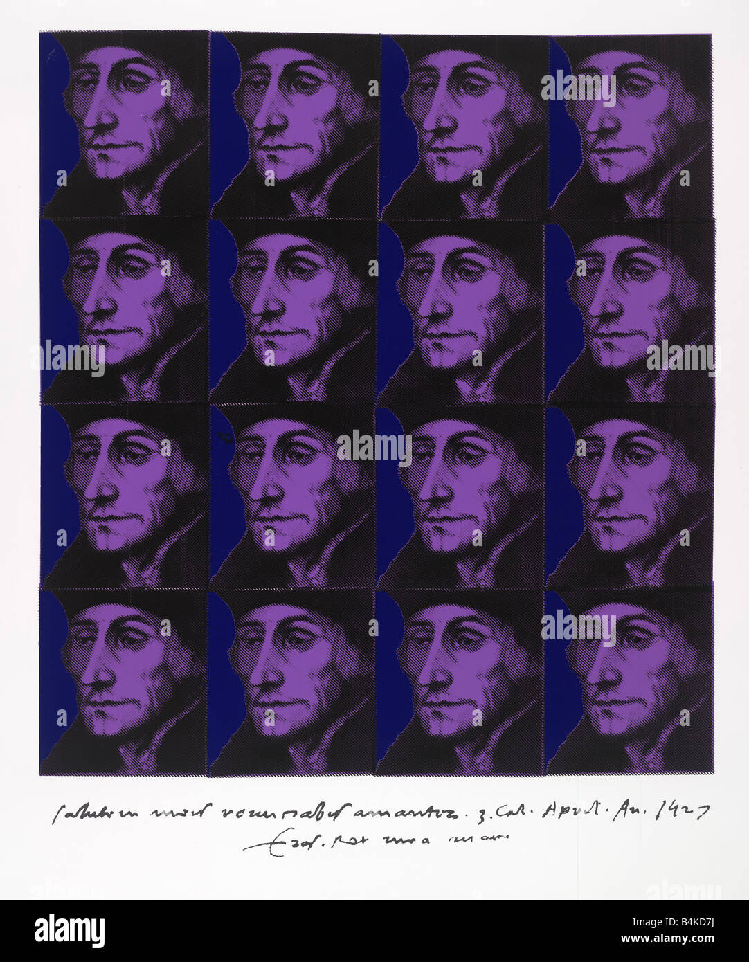 Desiderius Erasmus Dutch Renaissance humanist1469 -1536, silkscreen in multi print, made of a painting by nick oudshoorn - Stock Image