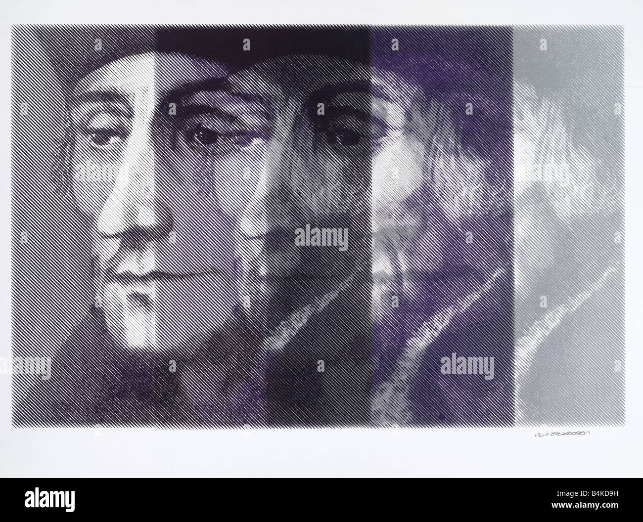 Desiderius Erasmus Dutch Renaissance humanist1469-1536, silkscreen in moving triple print, made of a painting by - Stock Image