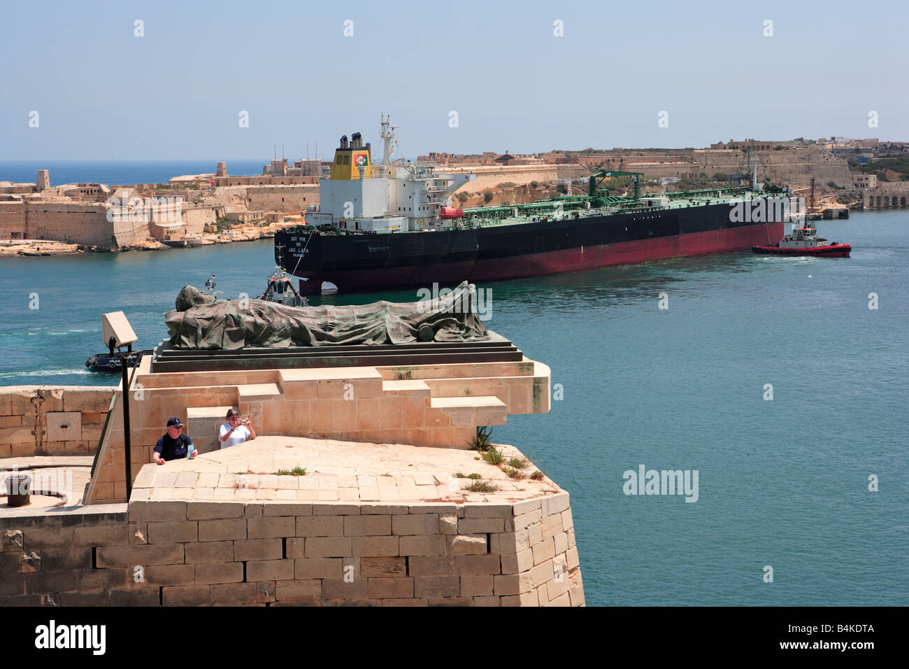 Oil Tanker docking in Grand Harbour, Malta - Stock Image