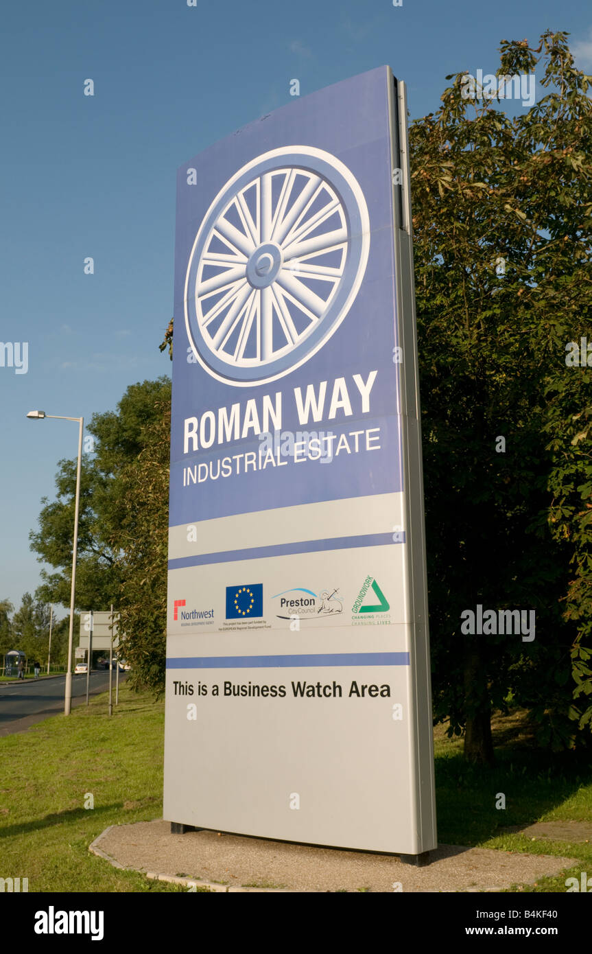 sign for the Roman Way industrial estate Preston England UK - Stock Image