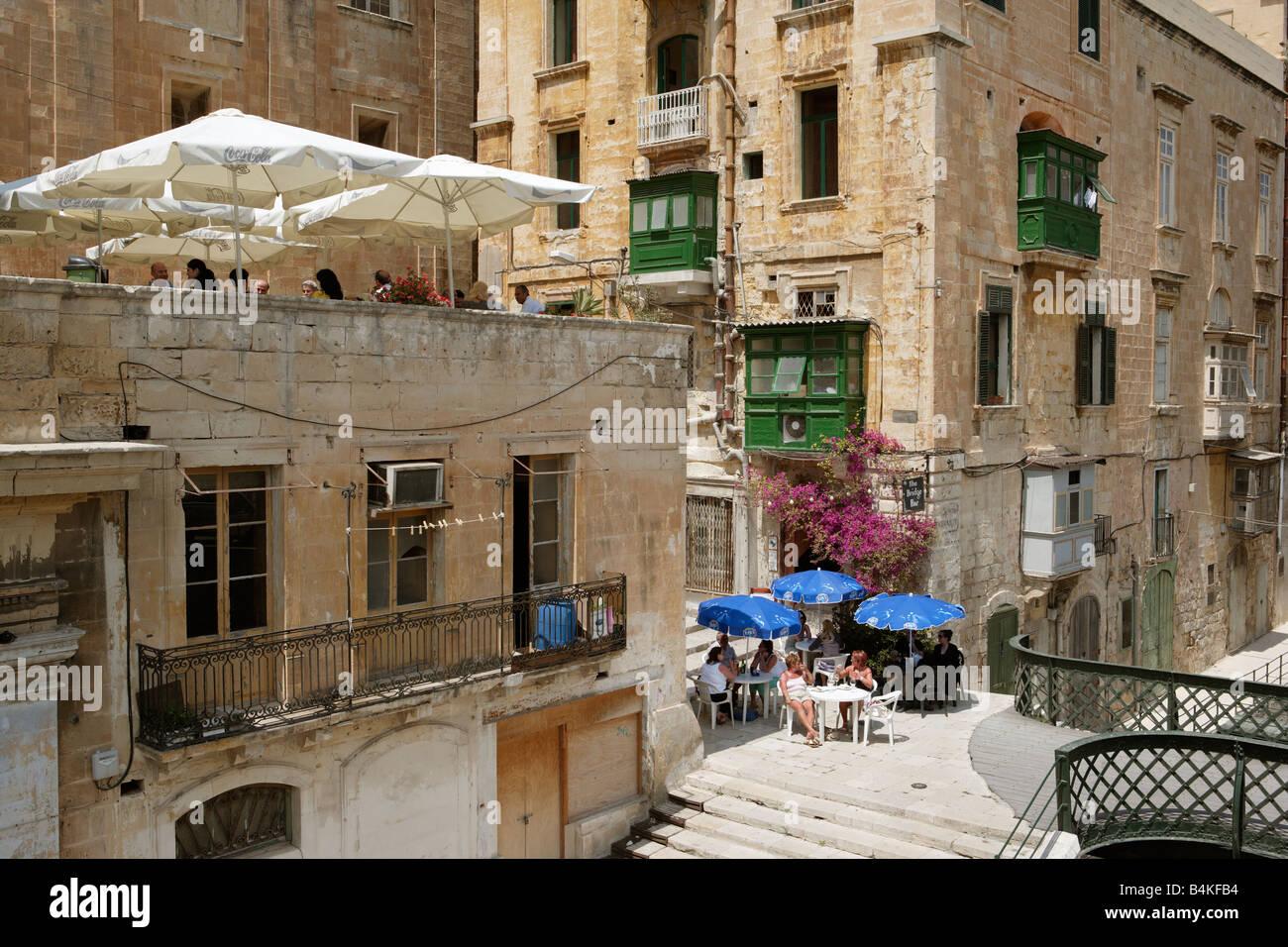 Alfresco dining, Valletta, Malta - Stock Image