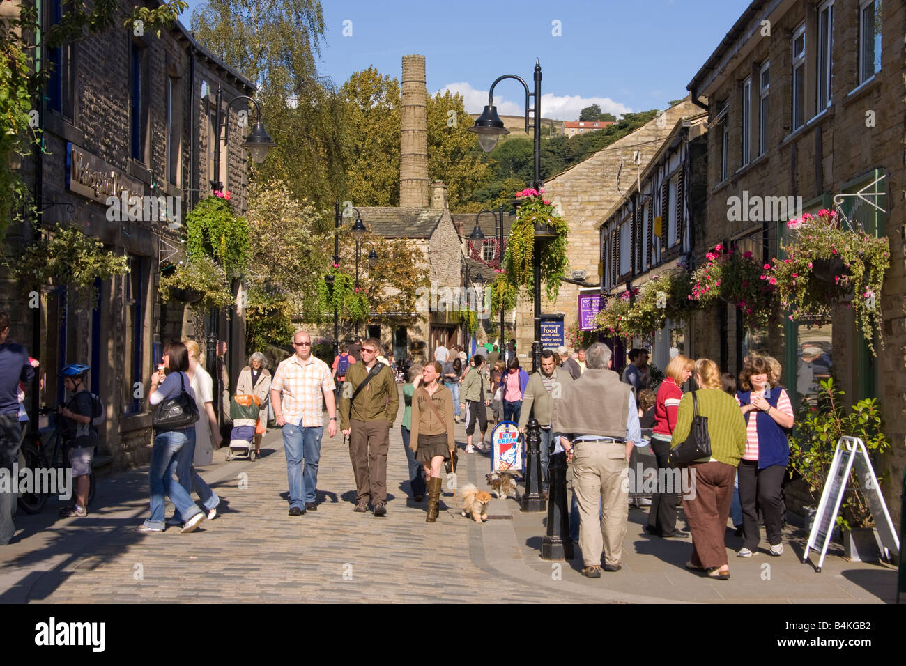 Busy street in  Hebden Bridge, West Yorkshire, England. - Stock Image