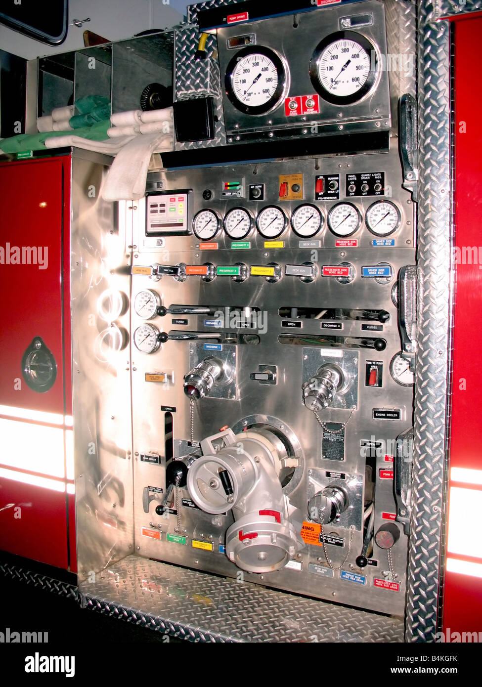 Modern Fire Engine Stock Photos Images Backing Diagram The Side Control Panel Of A Image