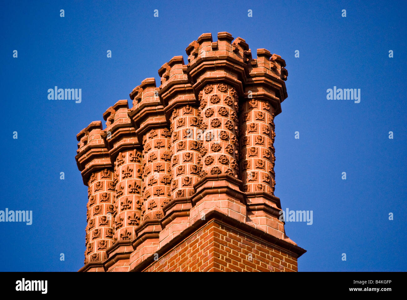 Fancy chimney pots on roof, London - Stock Image