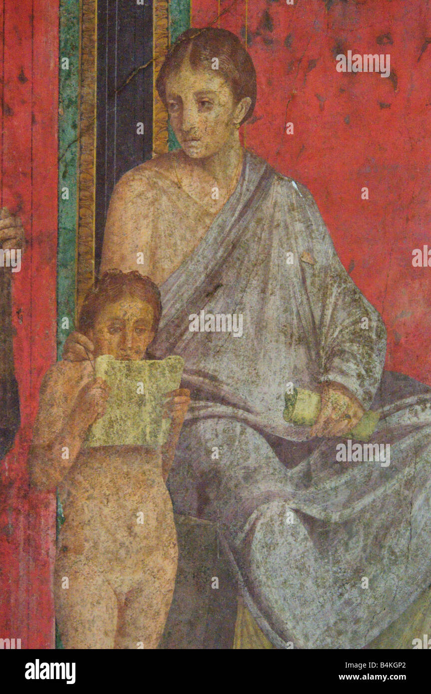 Detail of the fresco in the Villa of the Mysteries in Pompeii - Stock Image