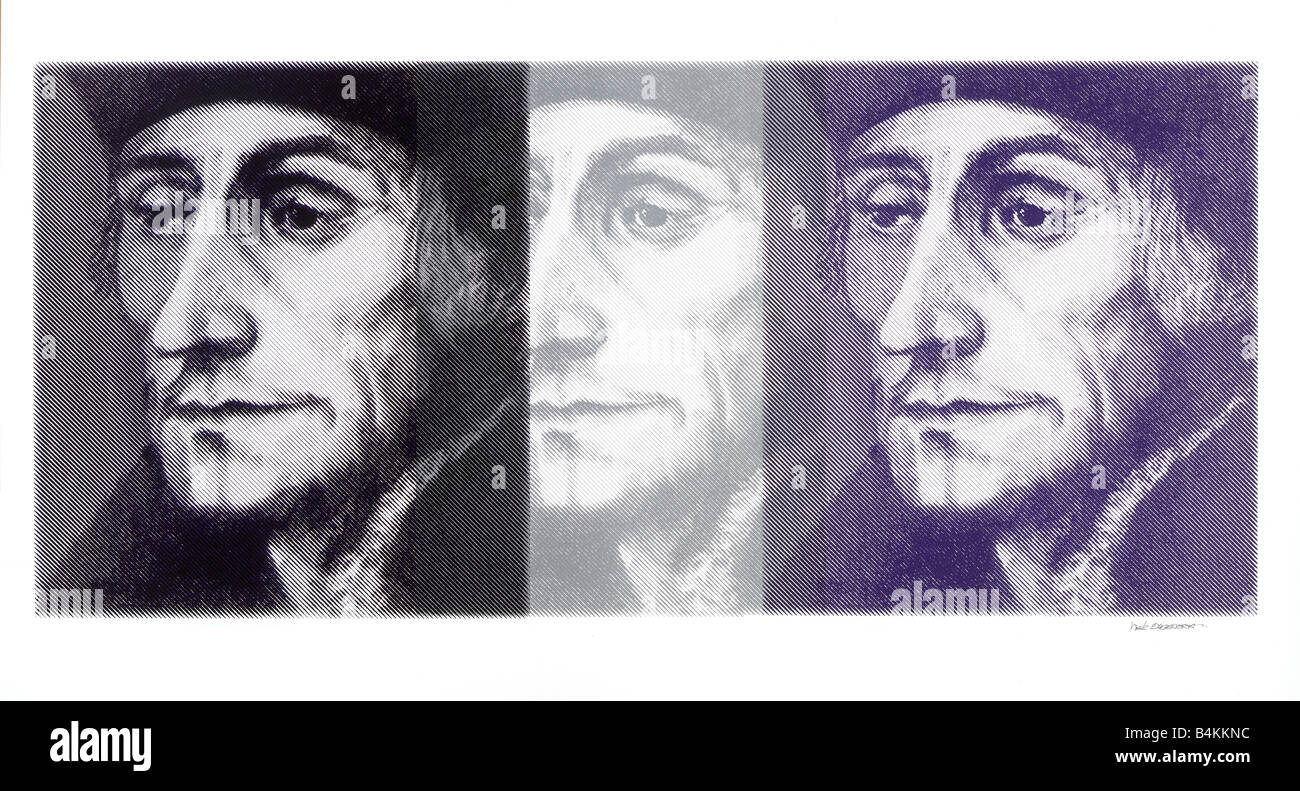 Desiderius Erasmus Dutch Renaissance humanist1469 -1536, silkscreen in triple print, made of a painting by nick - Stock Image