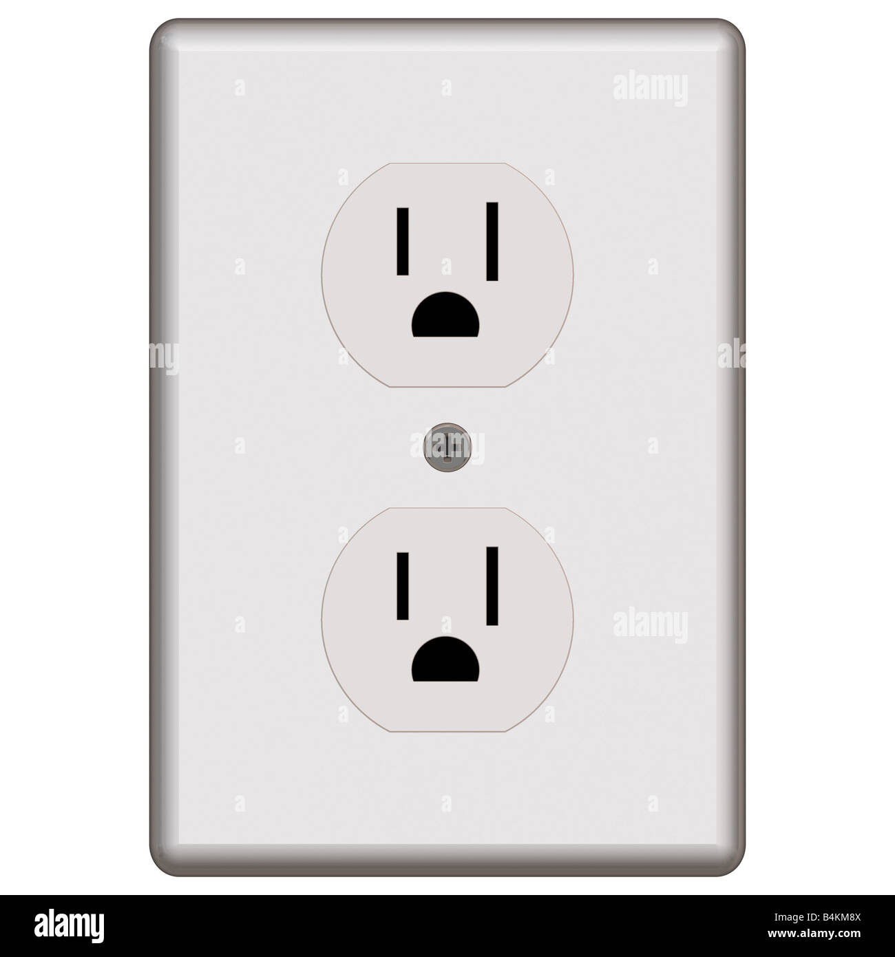 An electrical outlet isolated over white commonly found in the US ...