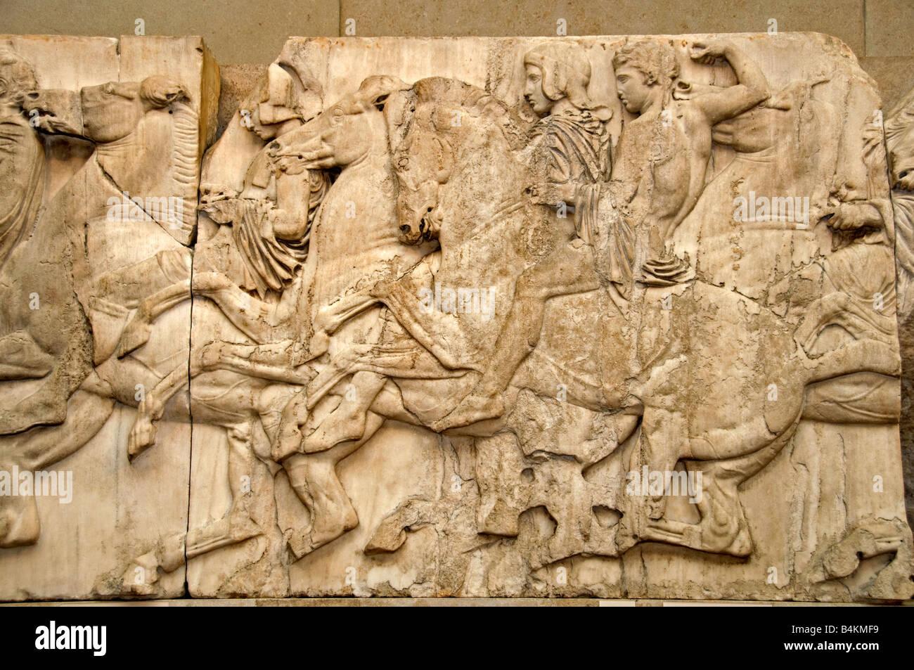 Horsemen Horseman Cavelary Chase Parthenon Pediment Metopes Frieze Greek mythology Greece Elgin Marbles Acropolis - Stock Image