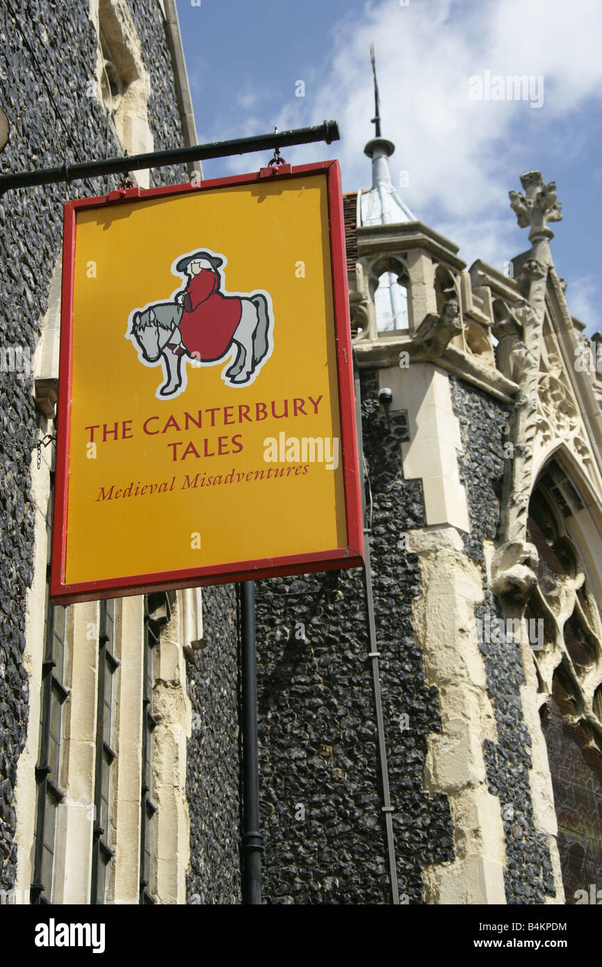 City of Canterbury, England. The sign outside the Canterbury Tales Museum dedicated to Geoffrey Chaucer's Canterbury - Stock Image
