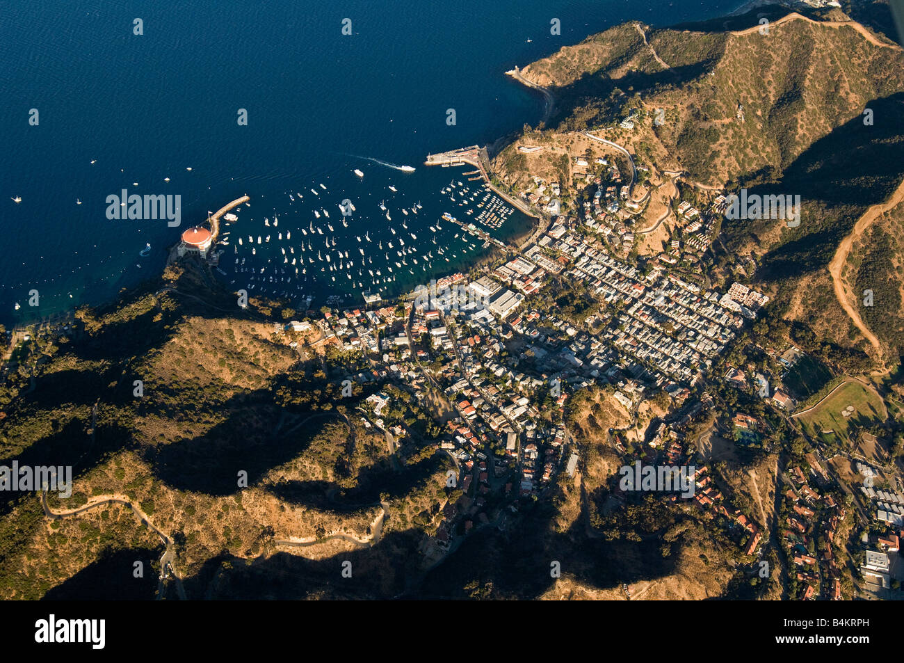 aerial view of avalon, town on catalina island of the california