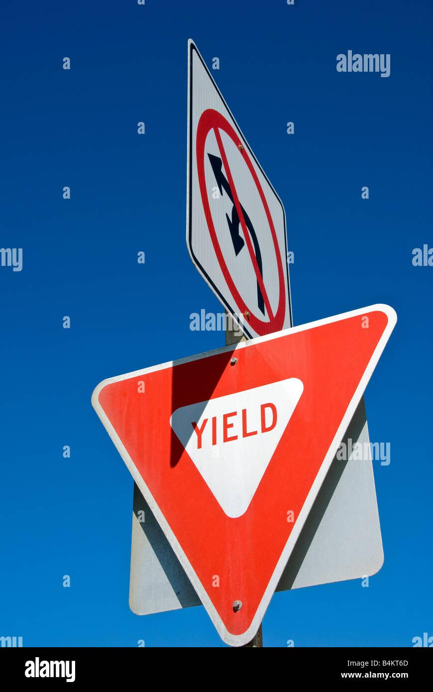Posted safety, no U, Left Turn sign balboa peninsula newport beach, orange county, california, ca usa, california - Stock Image