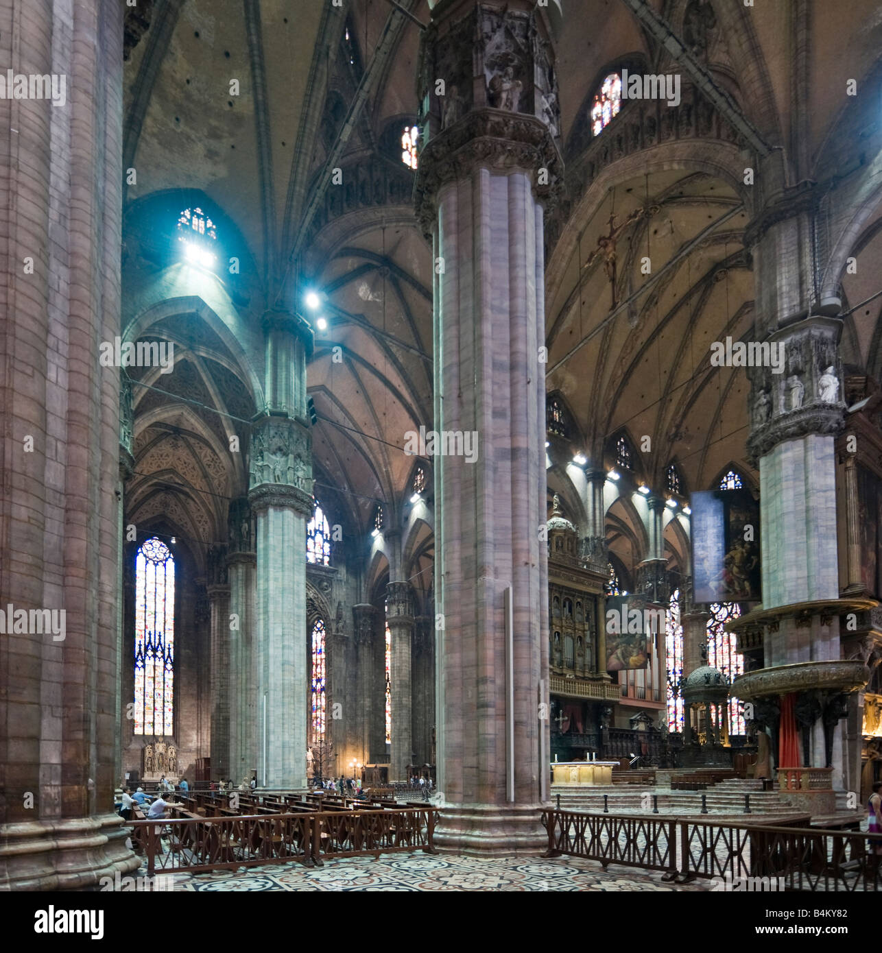 Interior of the Duomo (Cathedral), Piazza del Duomo, Milan, Lombardy, Italy Stock Photo