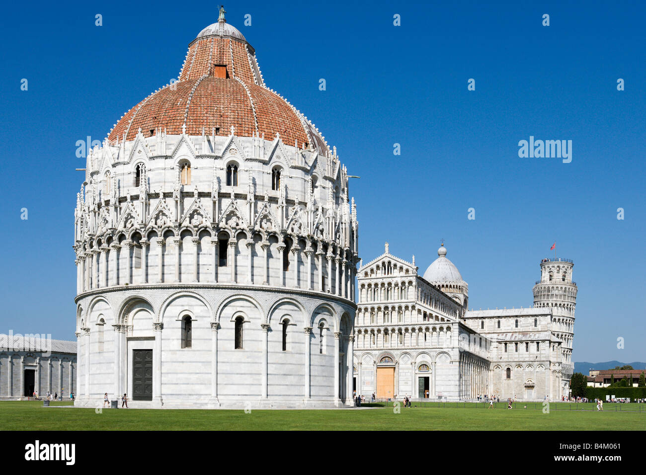 The Baptistry, Duomo and Leaning Tower, Piazza dei Miracoli, Pisa, Tuscany, Italy Stock Photo