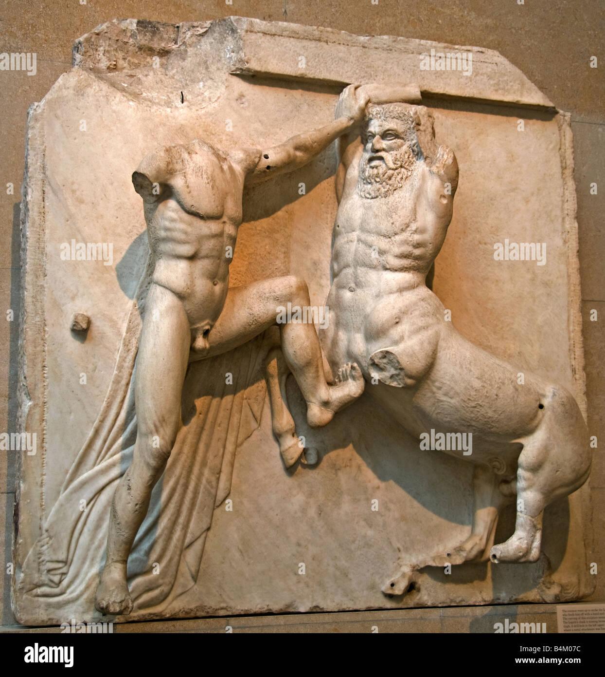 Centaur Panther skin Lapith Parthenon Pediment Metopes Frieze Greek mythology Greece Elgin Marbles Acropolis Athens - Stock Image