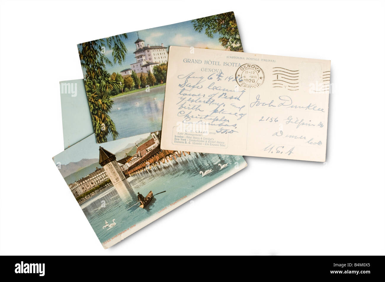 old postcards on white - Stock Image