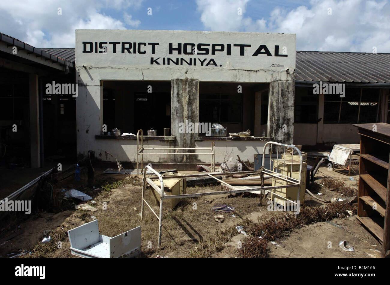 Tsunami Natural Disaster Sri Lanka January 2005 Kinnya Hospital - Stock Image