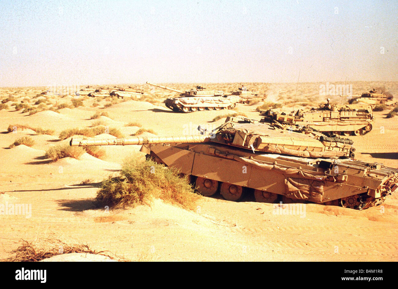 British Challanger tank seen here during a on line firing exercise in desert prior to operation Desert Storm Cirica - Stock Image