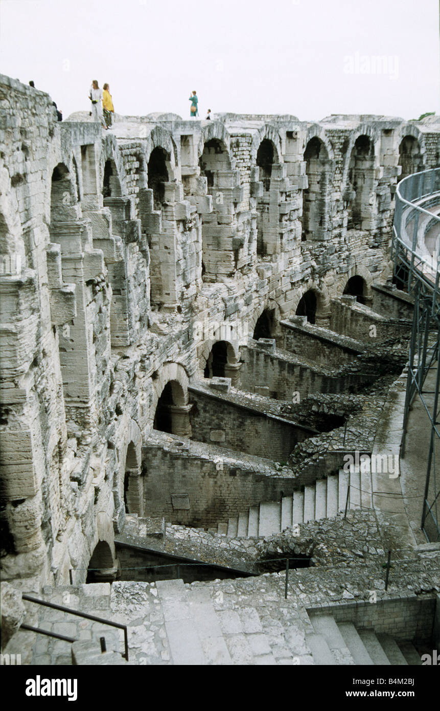 The Roman Amphitheatre in Arles France ruins of the old amphitheatre - Stock Image