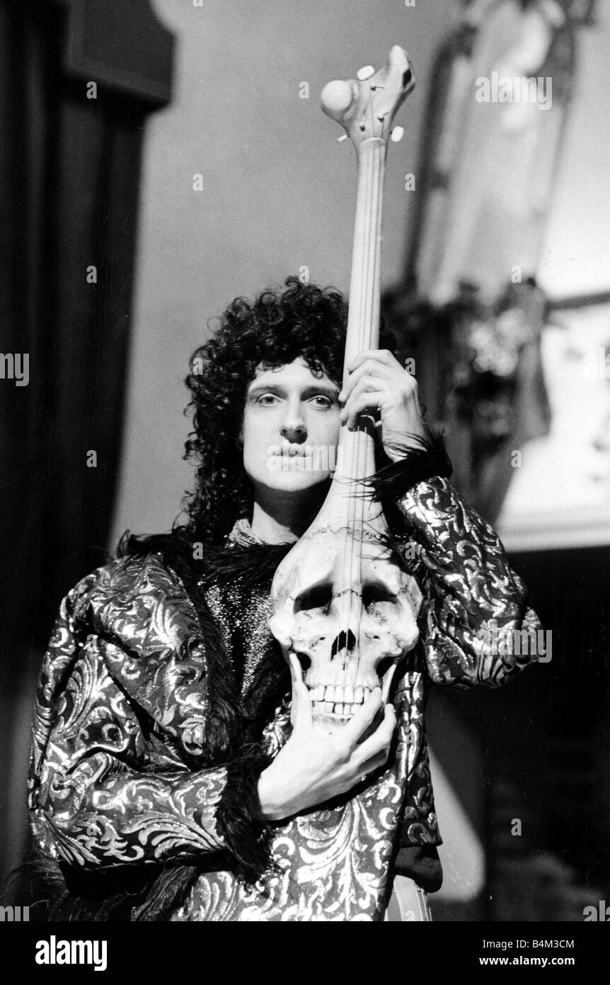 Brian May of the Queen Rock Group during the filming of It s A Hard Life music video in Munich Germany playing a Stock Photo