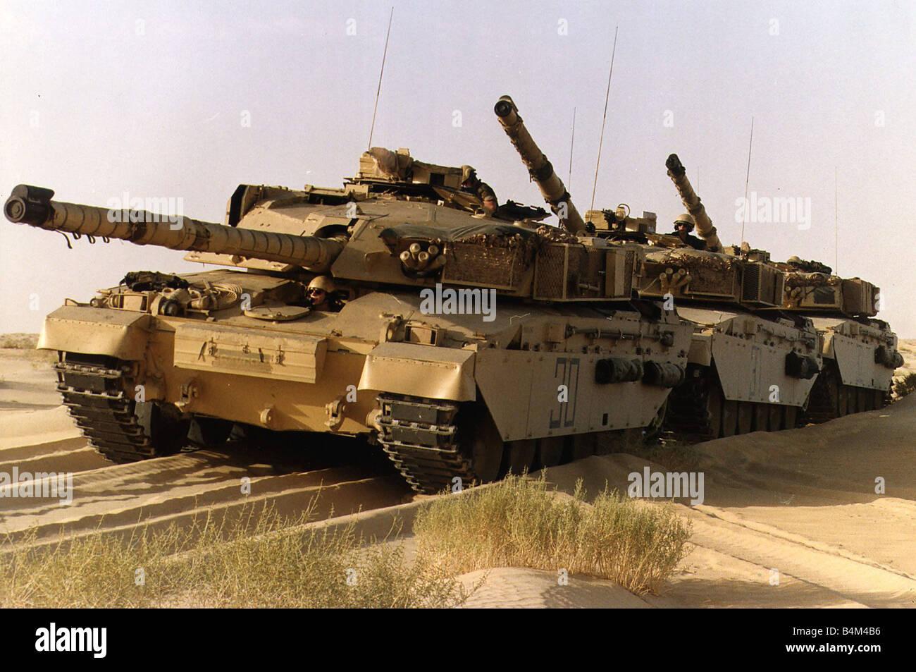 British Challenger tanks seen here preparing for operation Desert Storm in the western Saudi Arabian desert January - Stock Image