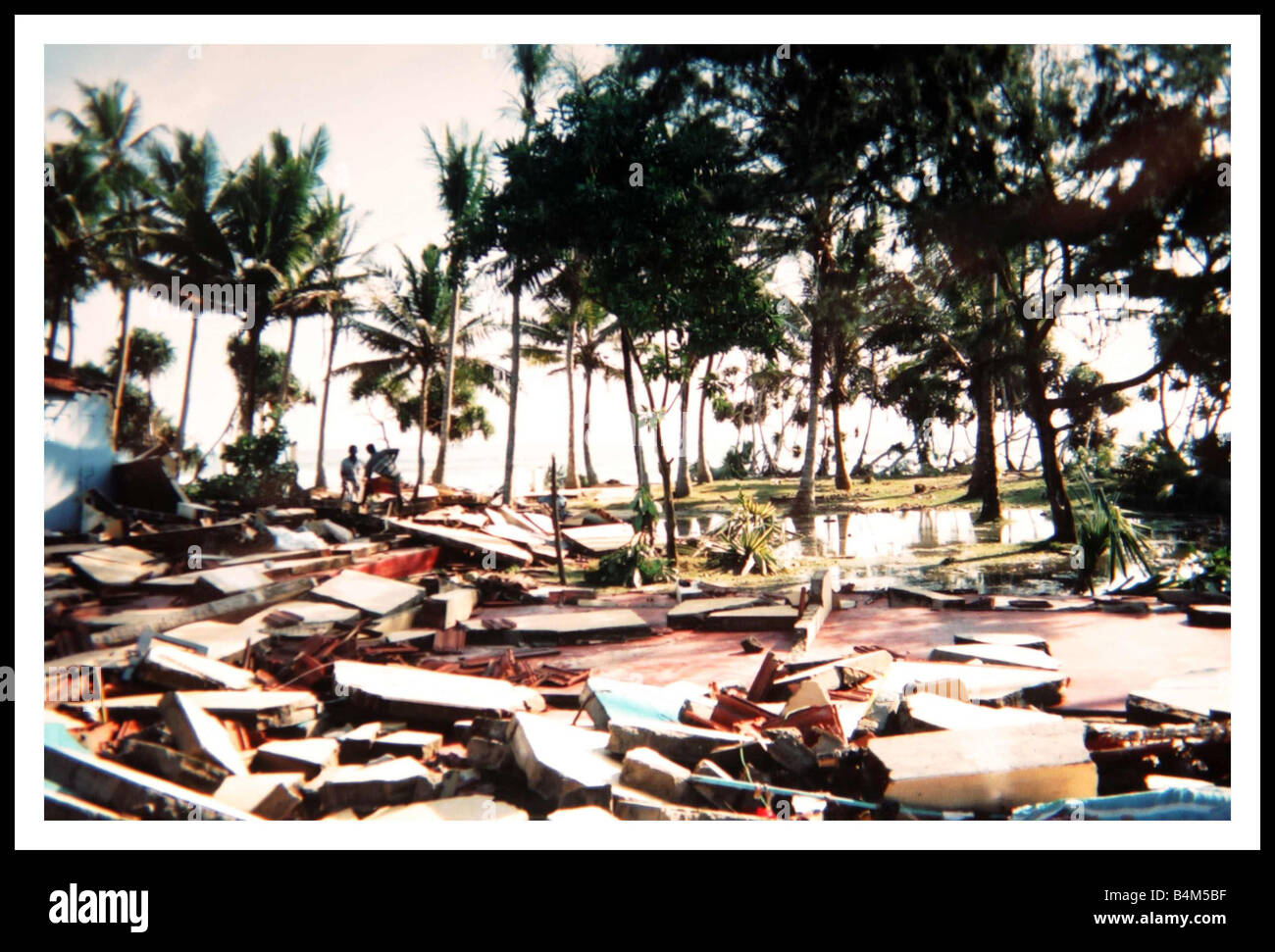 Natural Disaster Tsunami in Sri Lanka December 2004 The village of Midigama which was hit by giant wave showing - Stock Image