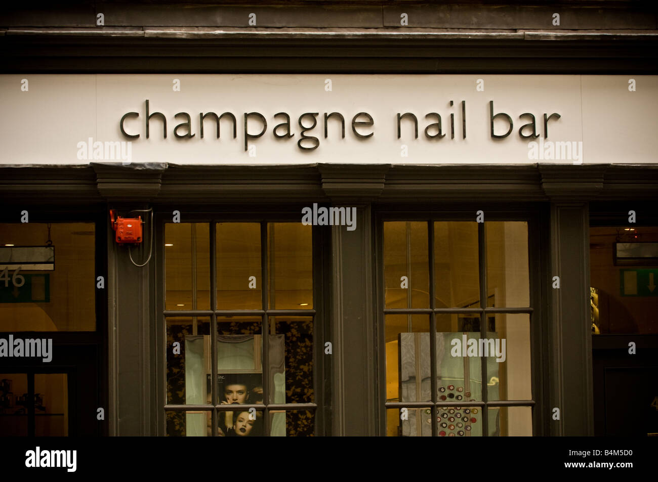 Champagne Nail Bar Sign On Shop Front London UK