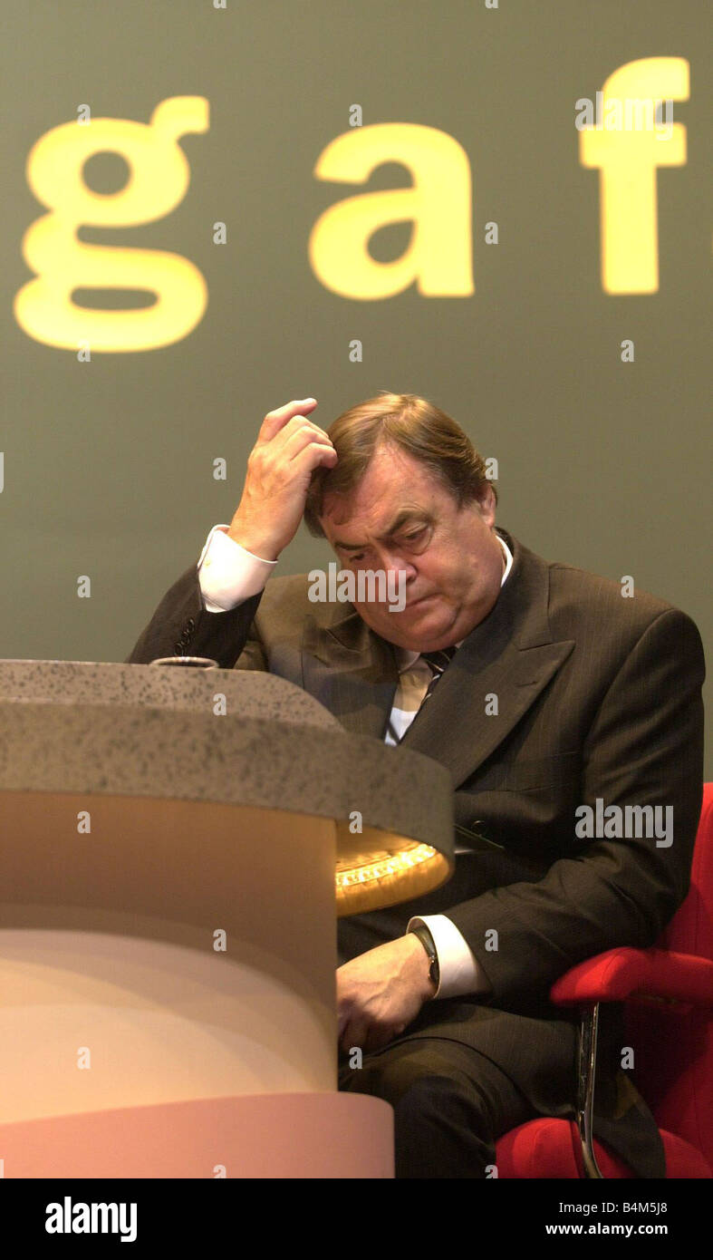 Labour Party Conference August 2002 John Prescott Deputy Prime Minister seen here sitting on the podium Unfortunately - Stock Image