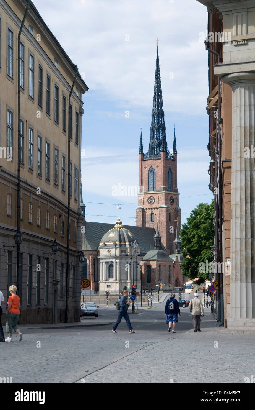 street scence in stockholm sweden church spire - Stock Image