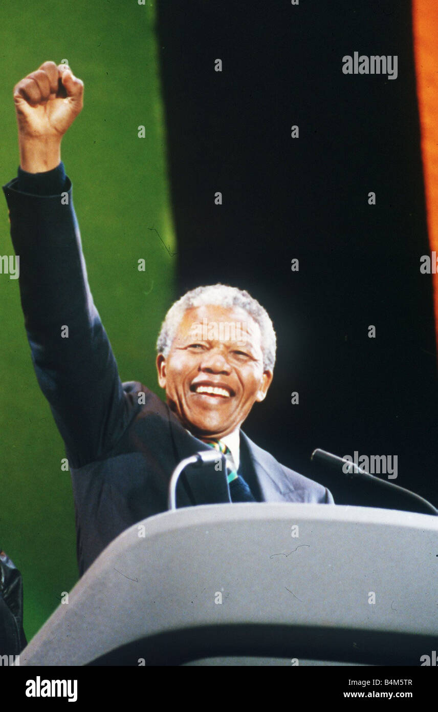Nelson Mandela Anc President Of South Africa At Wembley