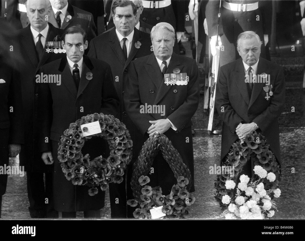Rememberance Sunday November 1969 Political leaders gather at Whitehall l r Jeremy Thorp Edward Heath and Harold - Stock Image