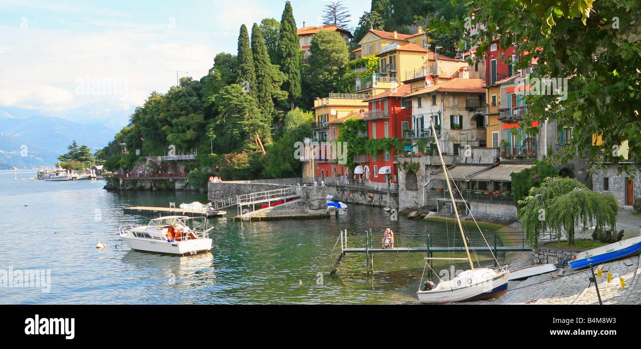 Waterfront at Varenna,Lake Como,Italy - Stock Image