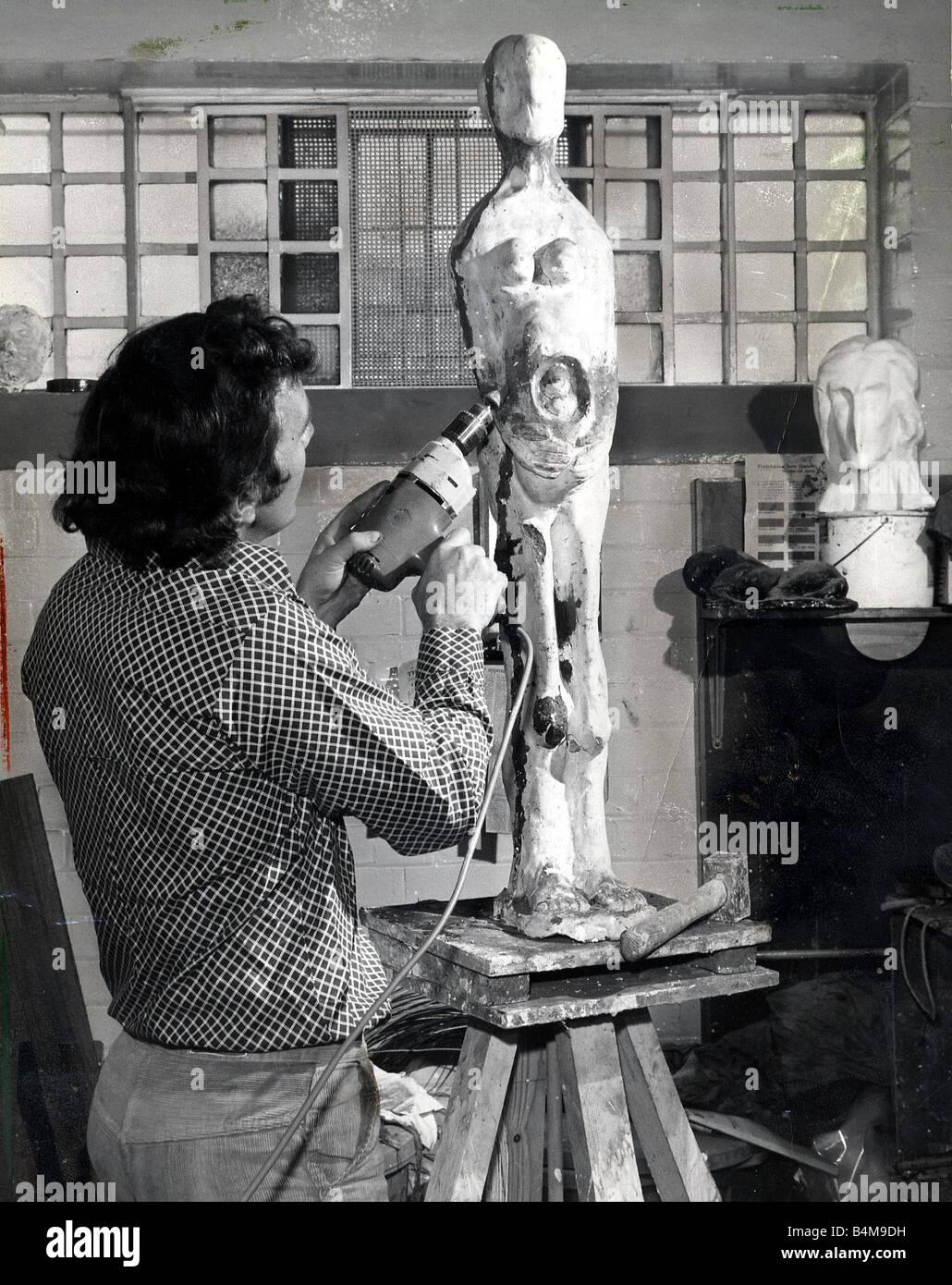 Jimmy Boyle working on sculpture Circa 1990 Stock Photo - Alamy