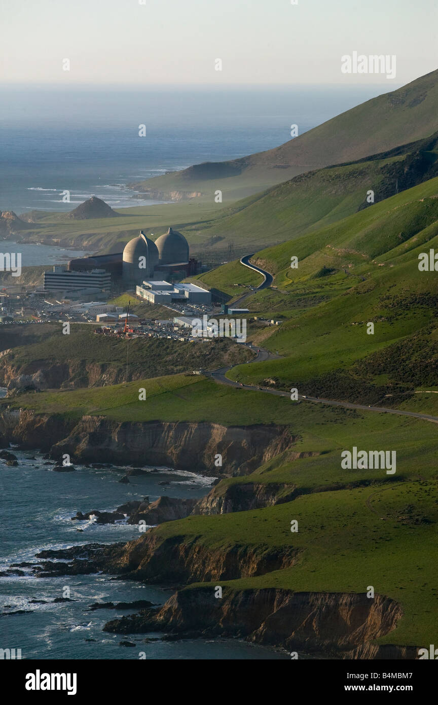 aerial above Diablo Canyon nuclear power plant Avila Beach California Pacific coast PG&E with two Westinghouse reactors Stock Photo
