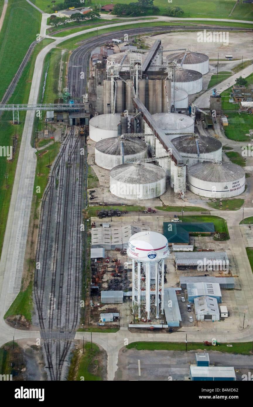 aerial above Cargill facilities at the Port of Baton Rouge Louisiana - Stock Image
